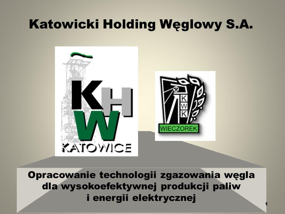 Katowicki Holding Węglowy S.A. Opracowanie technologii zgazowania węgla dla wysokoefektywnej produkcji paliw i energii elektrycznej 1