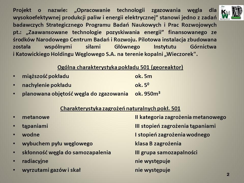 Ogólna charakterystyka pokładu 501 (georeaktor) miąższość pokładu ok.