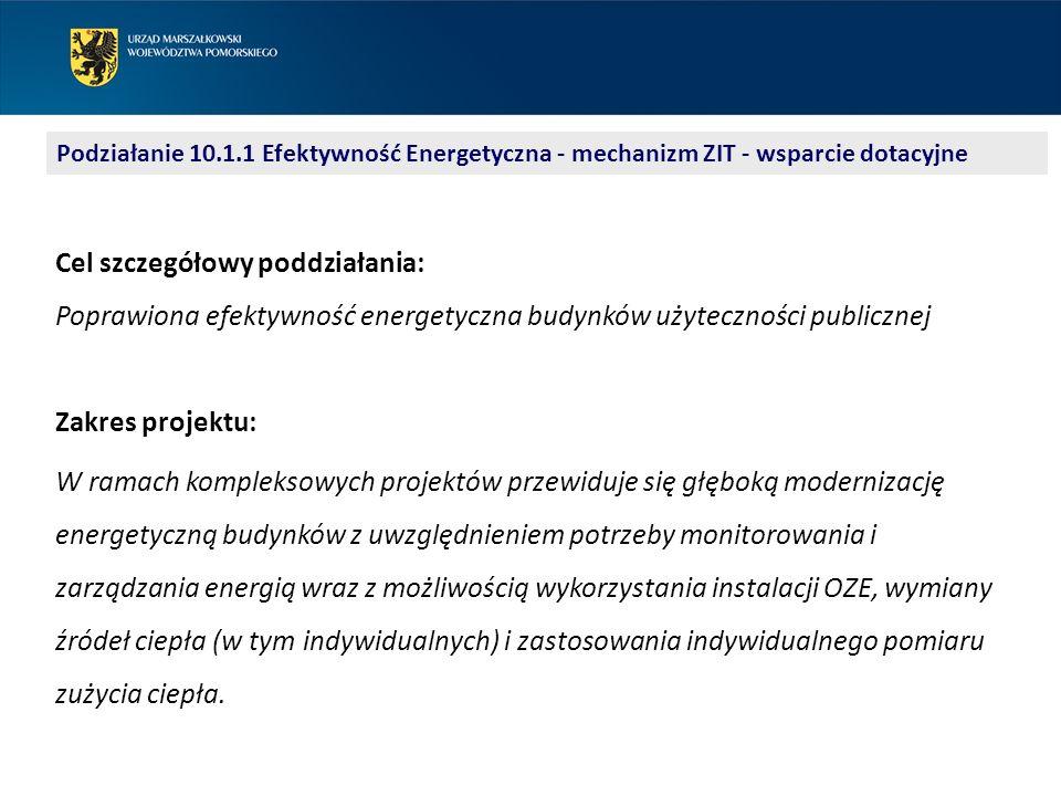 Podziałanie 10.1.1 Efektywność Energetyczna - mechanizm ZIT - wsparcie dotacyjne Marcin Erhard 58 32 68 117 m.erhard@pomorskie.eu