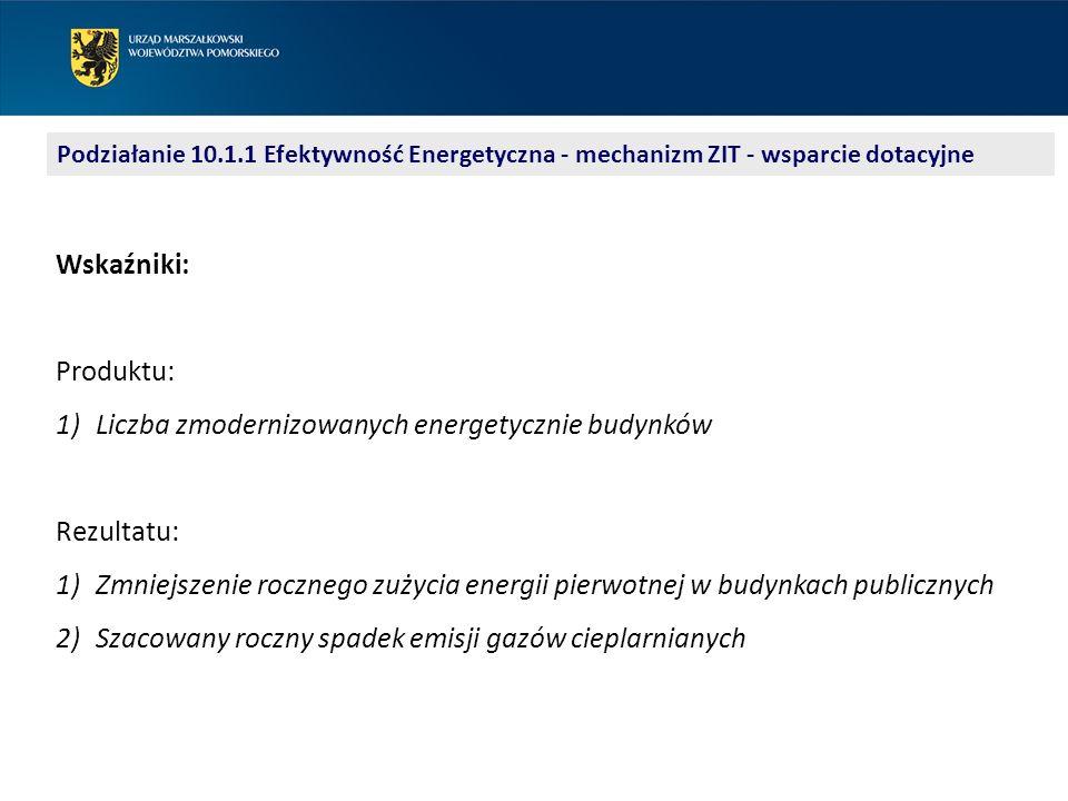 Podziałanie 10.1.1 Efektywność Energetyczna - mechanizm ZIT - wsparcie dotacyjne Tryb pozakonkursowy: identyfikacja projektów w SzOOP (karta projektu) monitorowanie gotowości (plan gotowości) nabór i rejestracja wniosków (wezwanie do złożenia wniosku) ocena wniosków wybór wniosków do dofinansowania