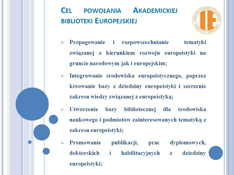 C EL POWOŁANIA A KADEMICKIEJ BIBLIOTEKI E UROPEJSKIEJ  Propagowanie i rozpowszechnianie tematyki związanej z kierunkiem rozwoju europeistyki na gruncie narodowym jak i europejskim;  Integrowanie środowiska europeistycznego, poprzez kreowanie bazy z dziedziny europeistyki i szerzenie zakresu wiedzy związanej z europeistyką;  Utworzenie bazy bibliotecznej dla środowiska naukowego i podmiotów zainteresowanych tematyką z zakresu europeistyki;  Promowanie publikacji, prac dyplomowych, doktorskich i habilitacyjnych z dziedziny europeistyki;
