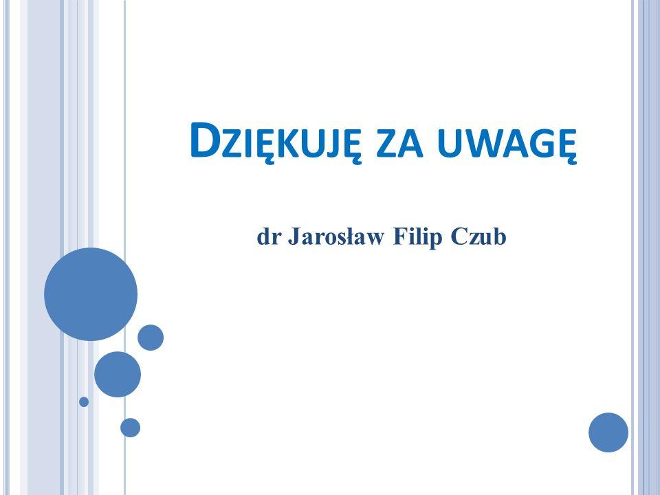 D ZIĘKUJĘ ZA UWAGĘ dr Jarosław Filip Czub
