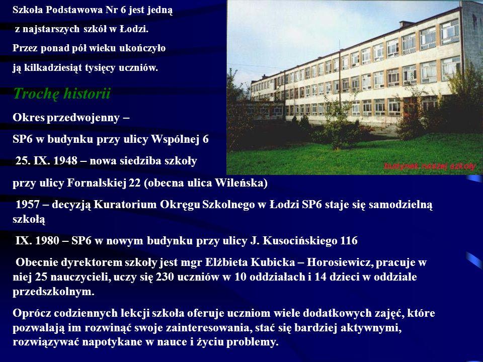 Największe osiągnięcia uczniów SP 6 w roku szkolnym 2008/2009: I m-ce i wyróżnienie w międzyszkolnym konkursie informatycznym na prezentację multimedialną nt.
