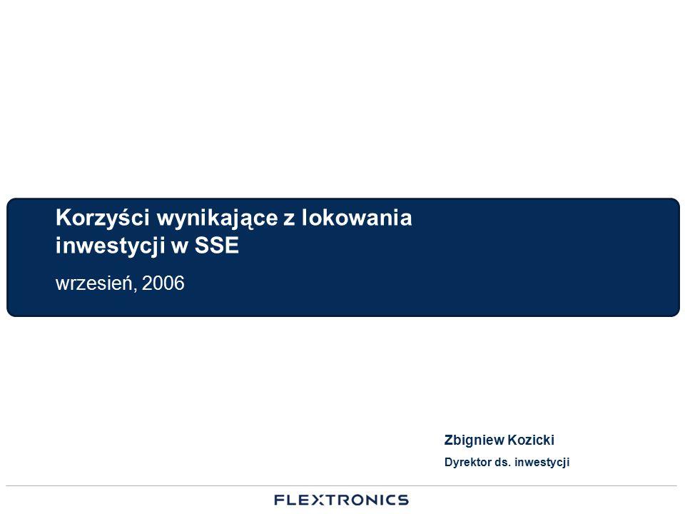 Korzyści wynikające z lokowania inwestycji w SSE wrzesień, 2006 Zbigniew Kozicki Dyrektor ds. inwestycji