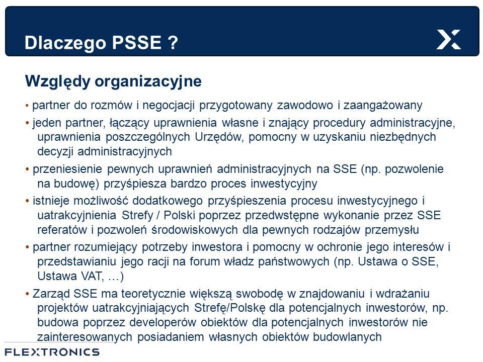 Dlaczego PSSE ? Względy organizacyjne partner do rozmów i negocjacji przygotowany zawodowo i zaangażowany jeden partner, łączący uprawnienia własne i