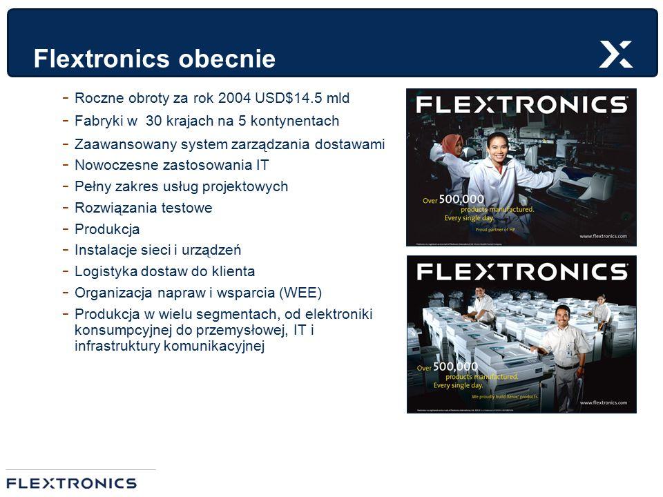 Flextronics obecnie - Roczne obroty za rok 2004 USD$14.5 mld - Fabryki w 30 krajach na 5 kontynentach - Zaawansowany system zarządzania dostawami - No