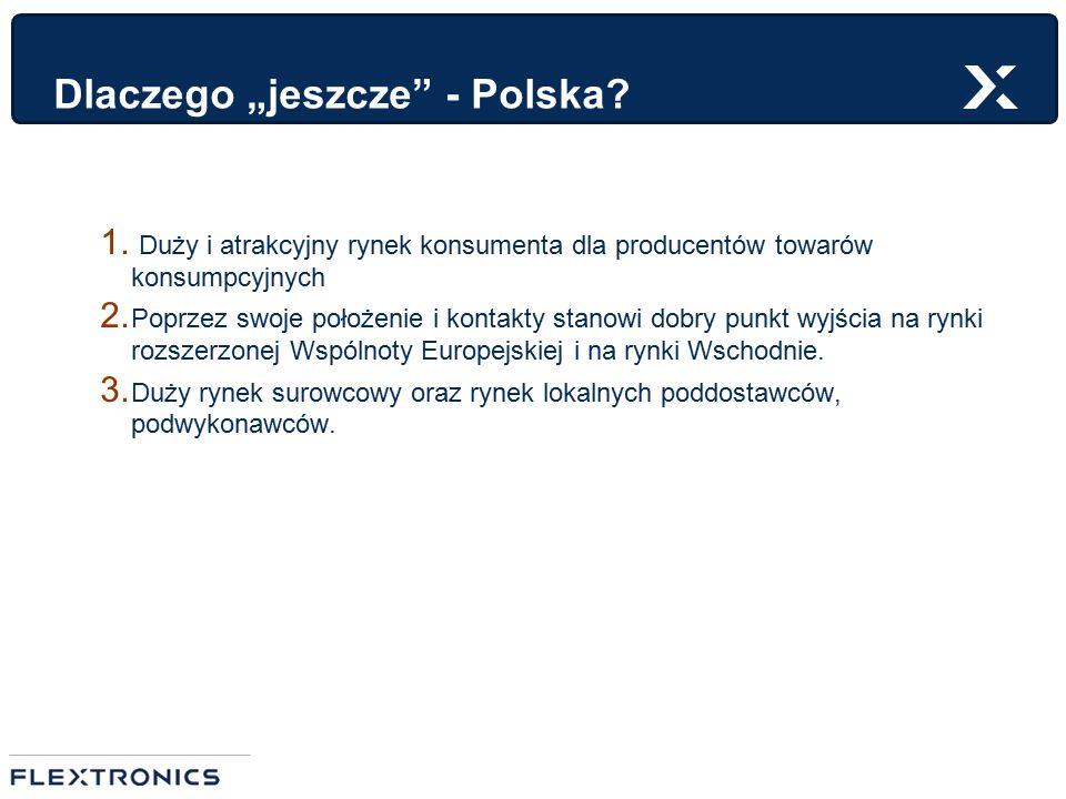 """Dlaczego """"jeszcze"""" - Polska? 1. Duży i atrakcyjny rynek konsumenta dla producentów towarów konsumpcyjnych 2. Poprzez swoje położenie i kontakty stanow"""