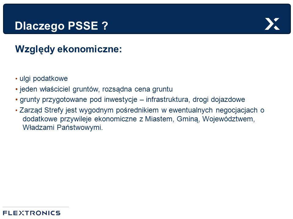 Dlaczego PSSE ? Względy ekonomiczne: ulgi podatkowe jeden właściciel gruntów, rozsądna cena gruntu grunty przygotowane pod inwestycje – infrastruktura
