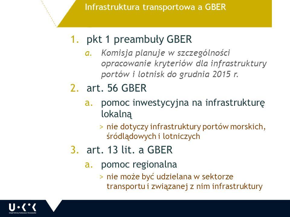 1.pkt 1 preambuły GBER a.Komisja planuje w szczególności opracowanie kryteriów dla infrastruktury portów i lotnisk do grudnia 2015 r.