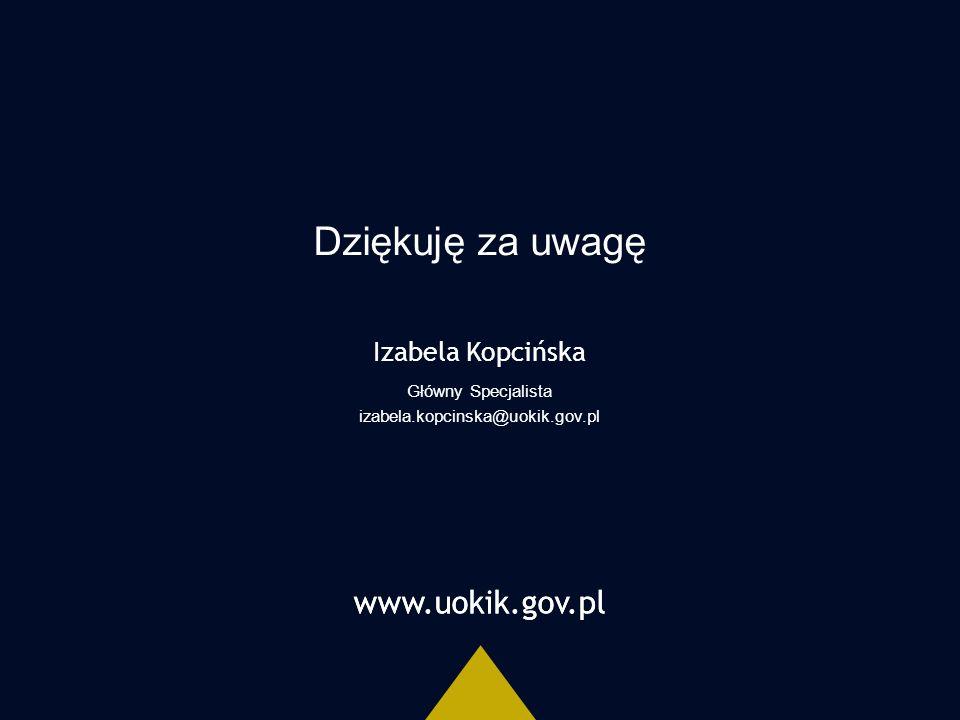 www.uokik.gov.pl Dziękuję za uwagę www.uokik.gov.pl Izabela Kopcińska Główny Specjalista izabela.kopcinska@uokik.gov.pl