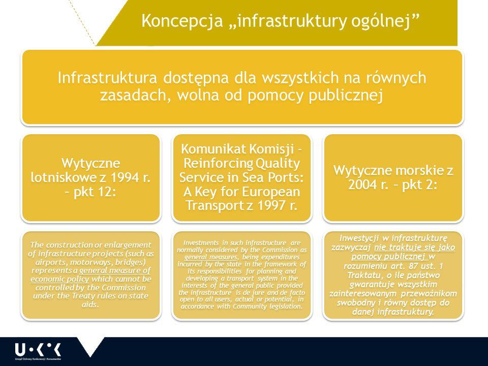 """Koncepcja """"infrastruktury ogólnej Infrastruktura dostępna dla wszystkich na równych zasadach, wolna od pomocy publicznej Wytyczne lotniskowe z 1994 r."""
