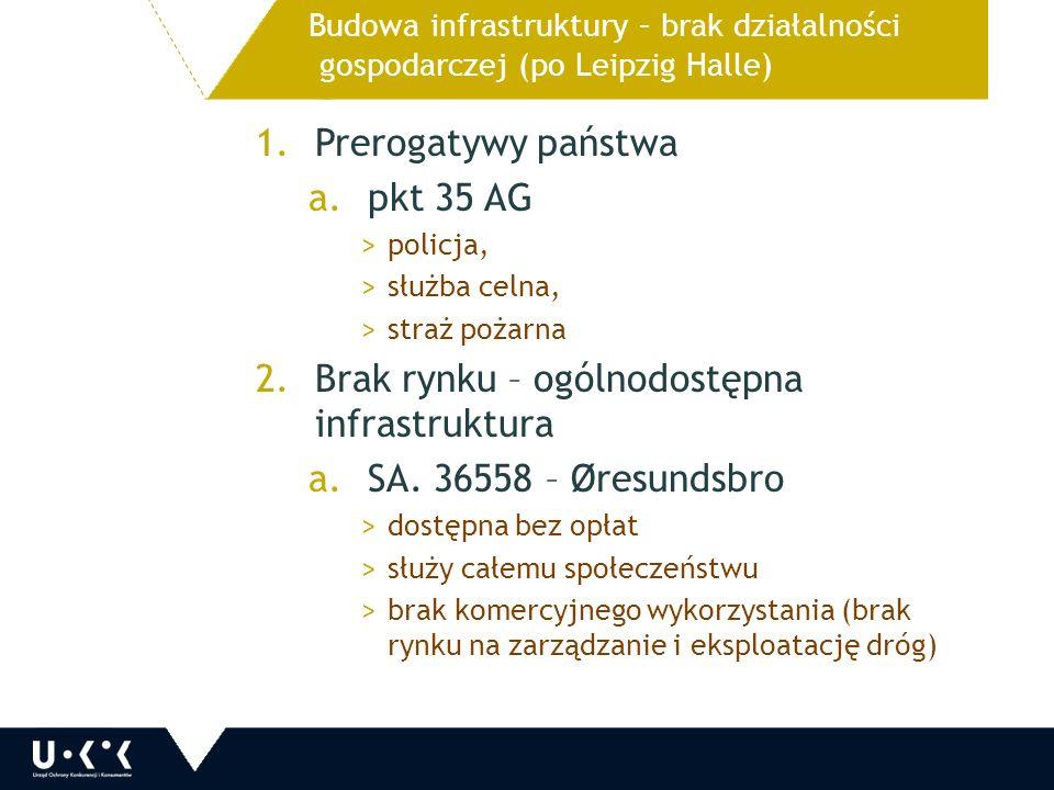 1.Prerogatywy państwa a.pkt 35 AG >policja, >służba celna, >straż pożarna 2.Brak rynku – ogólnodostępna infrastruktura a.SA.