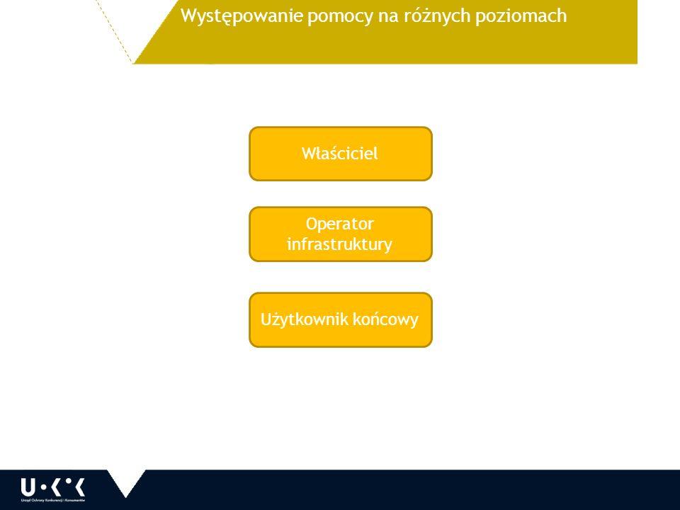 Występowanie pomocy na różnych poziomach Właściciel Operator infrastruktury Użytkownik końcowy