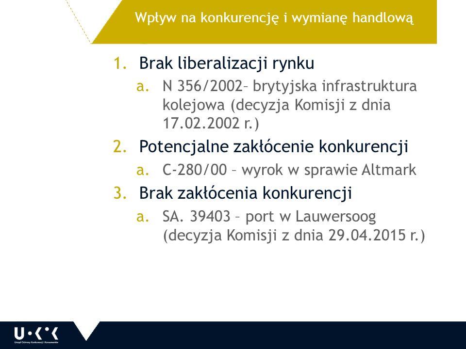 1.Brak liberalizacji rynku a.N 356/2002– brytyjska infrastruktura kolejowa (decyzja Komisji z dnia 17.02.2002 r.) 2.Potencjalne zakłócenie konkurencji a.C-280/00 – wyrok w sprawie Altmark 3.Brak zakłócenia konkurencji a.SA.