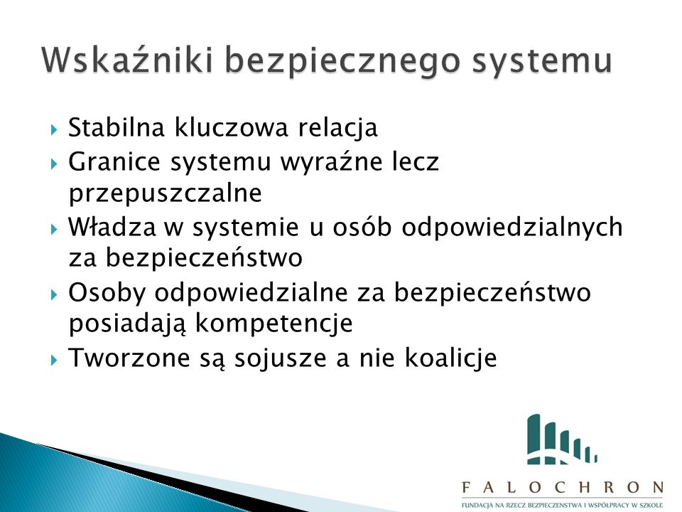  Stabilna kluczowa relacja  Granice systemu wyraźne lecz przepuszczalne  Władza w systemie u osób odpowiedzialnych za bezpieczeństwo  Osoby odpowiedzialne za bezpieczeństwo posiadają kompetencje  Tworzone są sojusze a nie koalicje