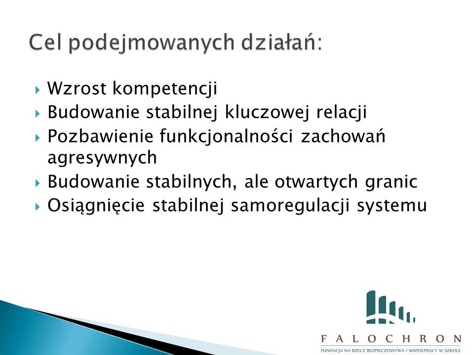  Wzrost kompetencji  Budowanie stabilnej kluczowej relacji  Pozbawienie funkcjonalności zachowań agresywnych  Budowanie stabilnych, ale otwartych granic  Osiągnięcie stabilnej samoregulacji systemu