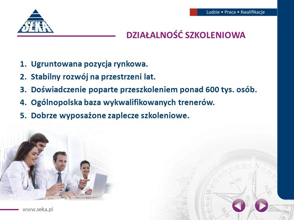 www.seka.pl DZIAŁALNOŚĆ SZKOLENIOWA 1.Ugruntowana pozycja rynkowa.
