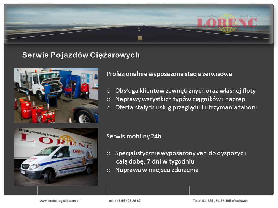 Profesjonalnie wyposażona stacja serwisowa o Obsługa klientów zewnętrznych oraz własnej floty o Naprawy wszystkich typów ciągników i naczep o Oferta s