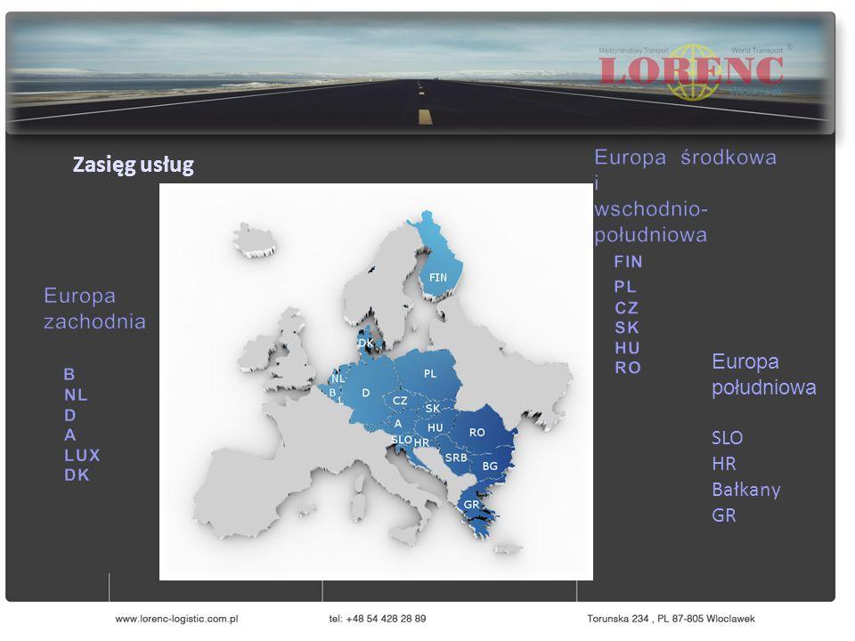 Europa południowa SLO HR Bałkany GR Zasięg usług
