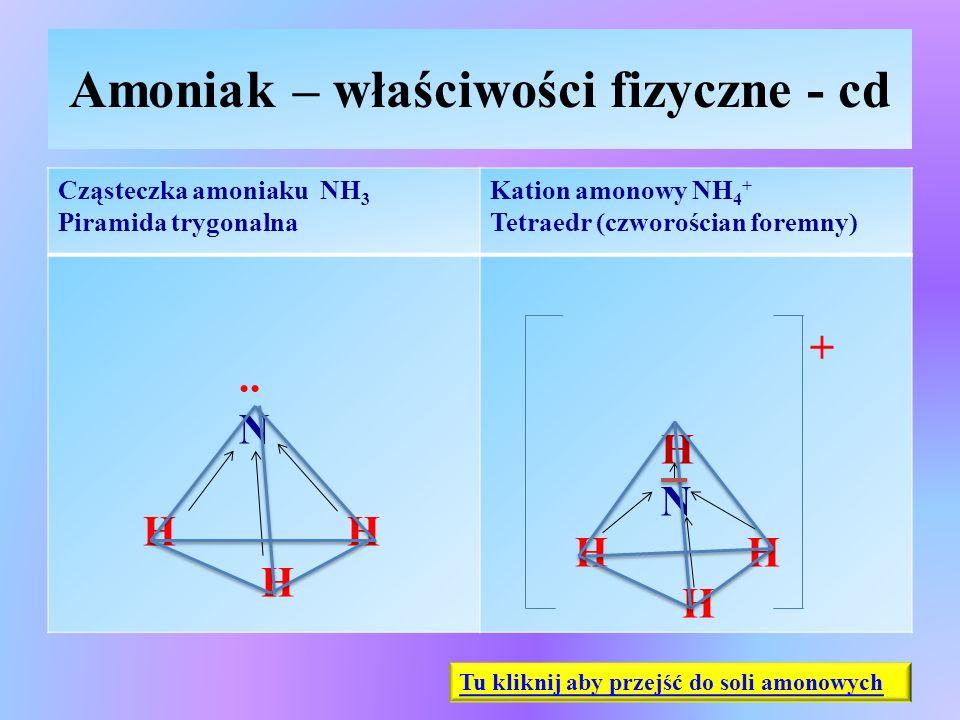 Amoniak – właściwości fizyczne - cd Cząsteczka amoniaku NH 3 Piramida trygonalna Kation amonowy NH 4 + Tetraedr (czworościan foremny).. N H H H + H N