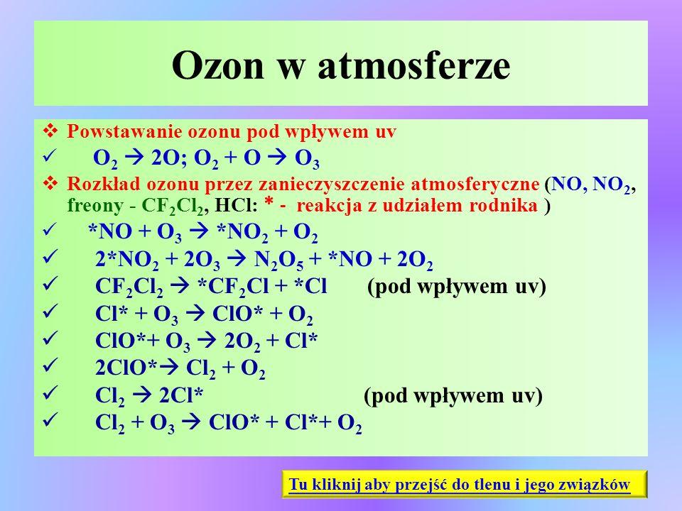 Ozon w atmosferze  Powstawanie ozonu pod wpływem uv O 2  2O; O 2 + O  O 3  Rozkład ozonu przez zanieczyszczenie atmosferyczne (NO, NO 2, freony -