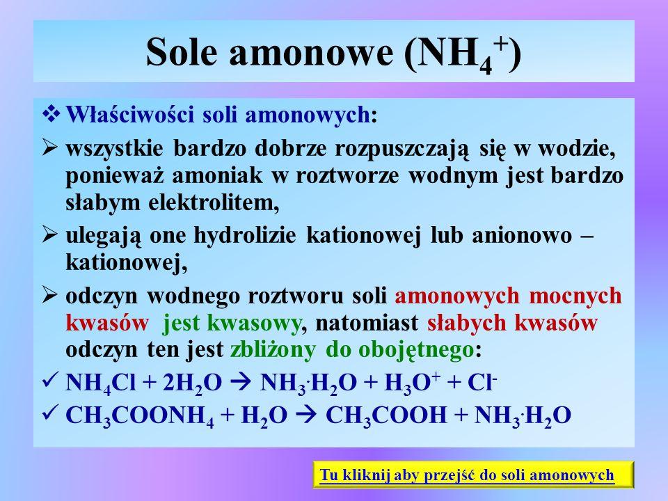 Sole amonowe (NH 4 + )  Właściwości soli amonowych:  wszystkie bardzo dobrze rozpuszczają się w wodzie, ponieważ amoniak w roztworze wodnym jest bar