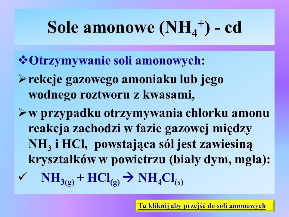 Sole amonowe (NH 4 + ) - cd  Otrzymywanie soli amonowych:  rekcje gazowego amoniaku lub jego wodnego roztworu z kwasami,  w przypadku otrzymywania