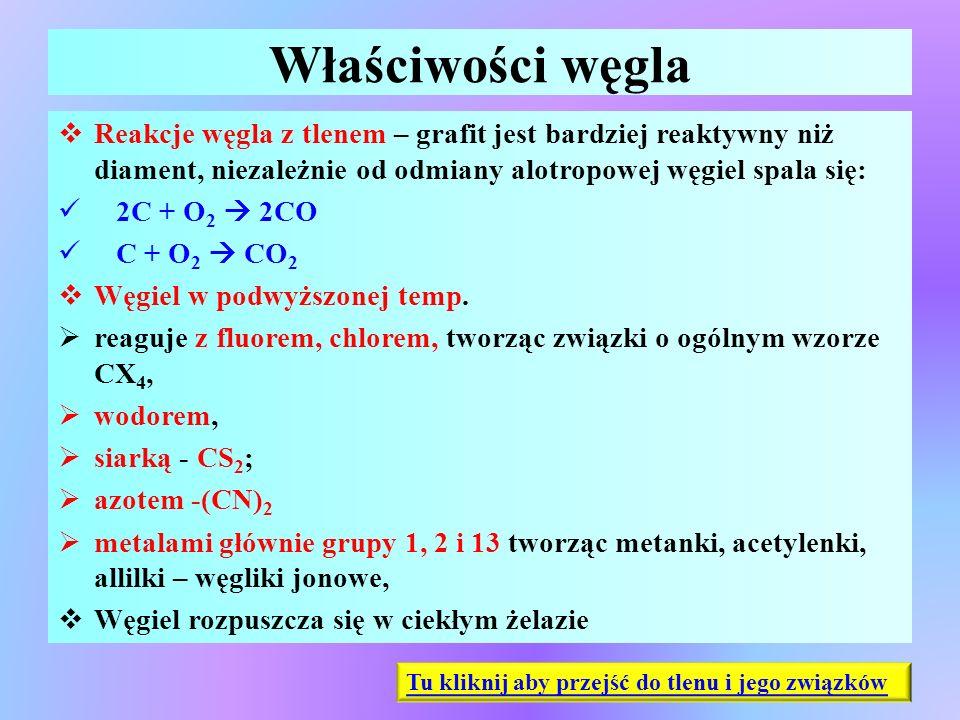 Właściwości węgla  Reakcje węgla z tlenem – grafit jest bardziej reaktywny niż diament, niezależnie od odmiany alotropowej węgiel spala się: 2C + O 2