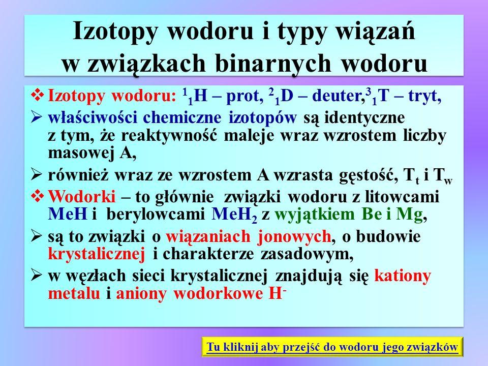 Izotopy wodoru i typy wiązań w związkach binarnych wodoru  Izotopy wodoru: 1 1 H – prot, 2 1 D – deuter, 3 1 T – tryt,  właściwości chemiczne izotop