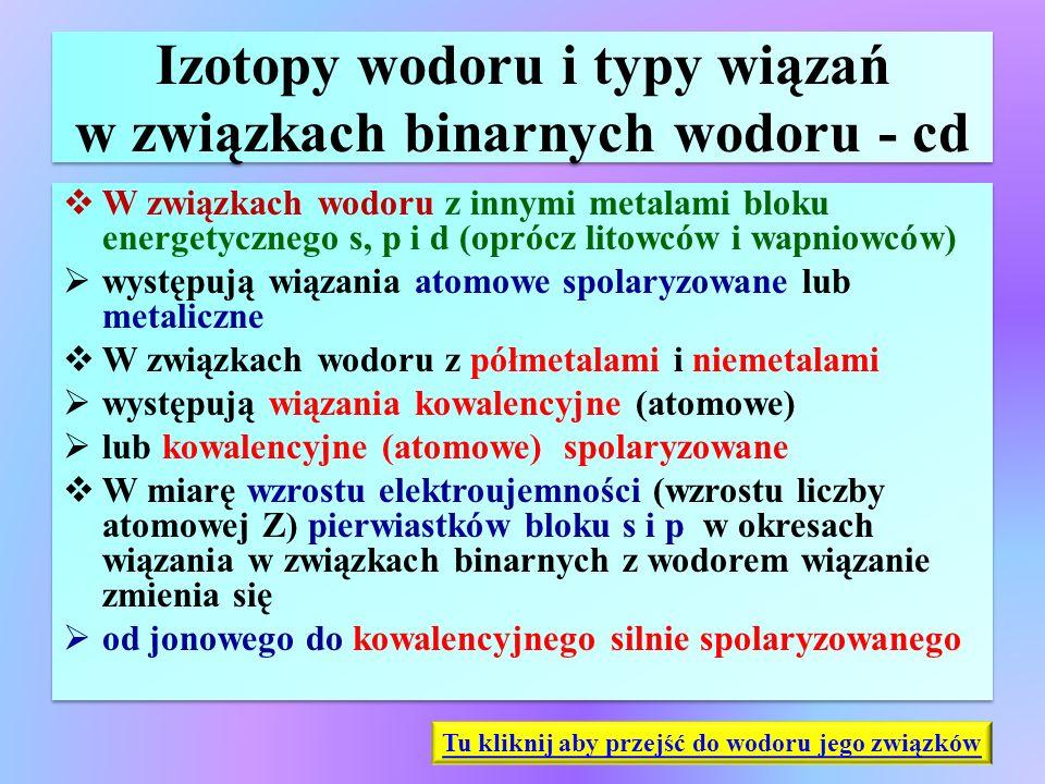 Izotopy wodoru i typy wiązań w związkach binarnych wodoru - cd  W związkach wodoru z innymi metalami bloku energetycznego s, p i d (oprócz litowców i