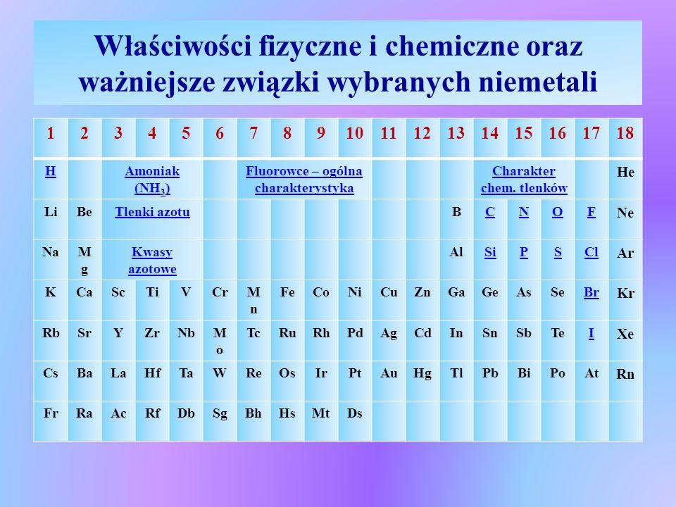 Chlor  Właściwości chemiczne chloru:  Dysproporcjonowanie chloru w reakcji z wodą Cl 2(g) + H 2 O ↔ HCl (aq) + HClO (aq) (woda chlorowa)  Woda chlorowa, tak jak sam chlor ma właściwości utleniające, które wynikają z reakcji rozkładu HClO pod wpływem uv HClO  HCl + O; 2HClO  2HCl + O 2  Chlor w stanie suchym jest bardzo aktywny chemicznie, aktywność jego wzrasta w obecności wilgoci, wchodzi w reakcje bezpośrednio z większością pierwiastków (wyjątek N, C, helowce) oraz z innymi związkami chemicznymi Tu kliknij aby przejść do chloru i jego związków