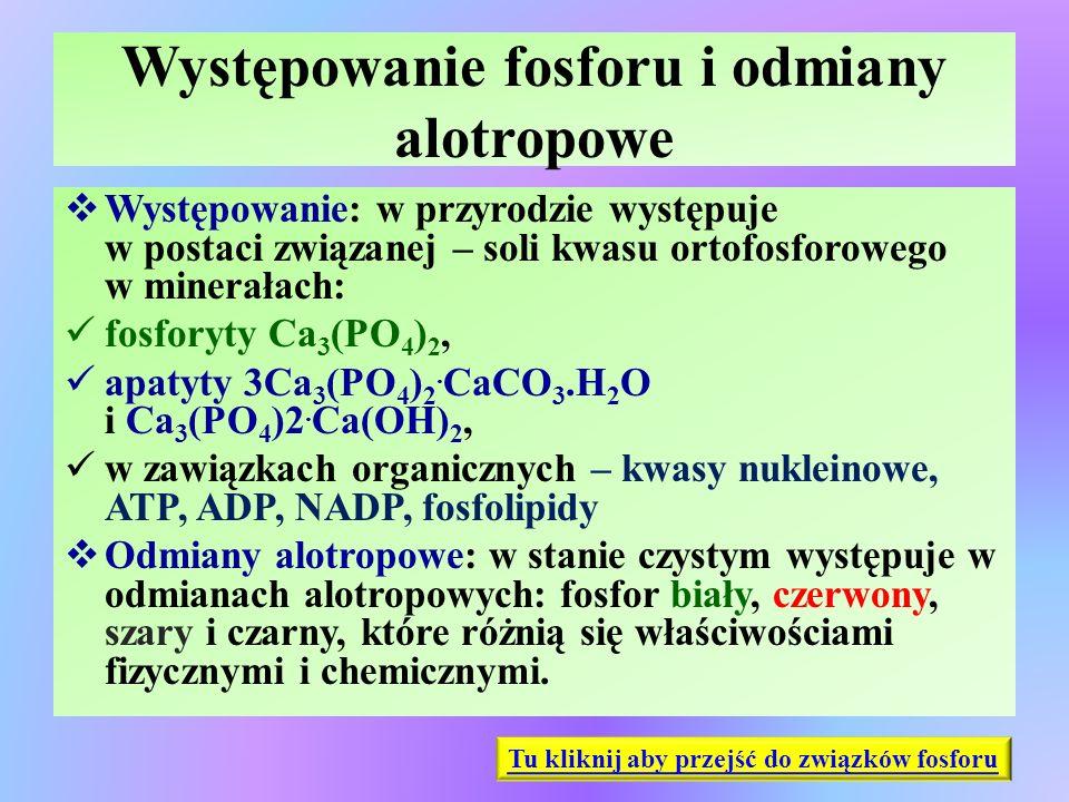 Występowanie fosforu i odmiany alotropowe  Występowanie: w przyrodzie występuje w postaci związanej – soli kwasu ortofosforowego w minerałach: fosfor