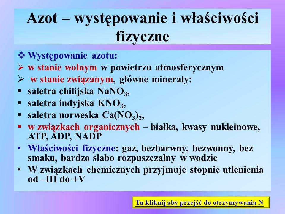 Otrzymywanie i zastosowanie azotu  Otrzymywanie azotu :  destylacja frakcjonowana skroplonego powietrza, z wykorzystaniem różnic wrzenia gazów stanowiących mieszaninę powietrza (T w(N) = -196 o C, T w(O) = -183 o C)  metody laboratoryjne: termiczny rozkład soli azotanowo- amonowych lub azydków (sole kwasu azotowodorowego HN 3 ): NH 4 NO 2  N 2 + 2H 2 O NH 4 Cl + NaNO 2  NaCl + N 2 + H 2 O 2NaN 3  2Na + 3N 2  Zastosowanie azotu:  otrzymywanie niskich temp., utrzymanie atmosfery beztlenowej w procesach chemicznych w spawalniczych, napełniane żarówek i jarzeniówek, napełnianie poduszek bezpieczeństwa (rozkład azydku sodu), produkcja amoniaku, kwasu azotowego i jego soli, nawozów mineralnych Tu kliknij aby przejść do właściwości chemicznych N