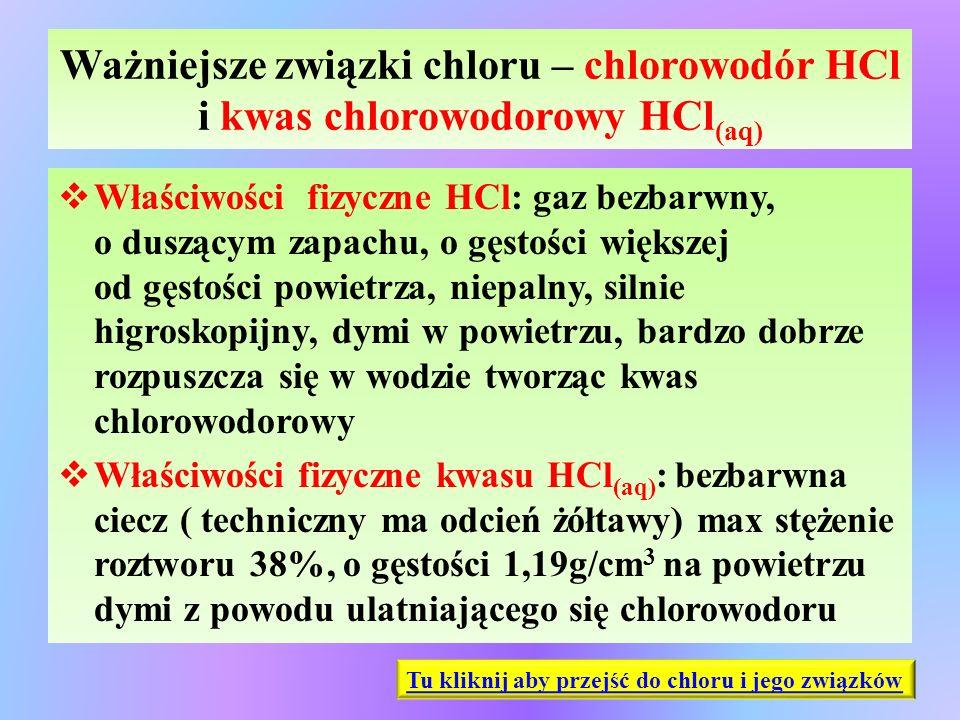 Ważniejsze związki chloru – chlorowodór HCl i kwas chlorowodorowy HCl (aq)  Właściwości fizyczne HCl: gaz bezbarwny, o duszącym zapachu, o gęstości w
