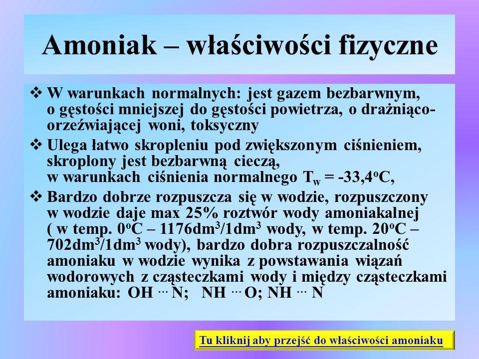 Amoniak – właściwości fizyczne  W warunkach normalnych: jest gazem bezbarwnym, o gęstości mniejszej do gęstości powietrza, o drażniąco- orzeźwiającej