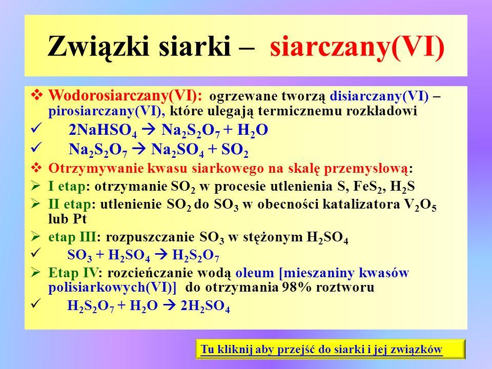 Związki siarki – siarczany(VI)  Wodorosiarczany(VI): ogrzewane tworzą disiarczany(VI) – pirosiarczany(VI), które ulegają termicznemu rozkładowi 2NaHS