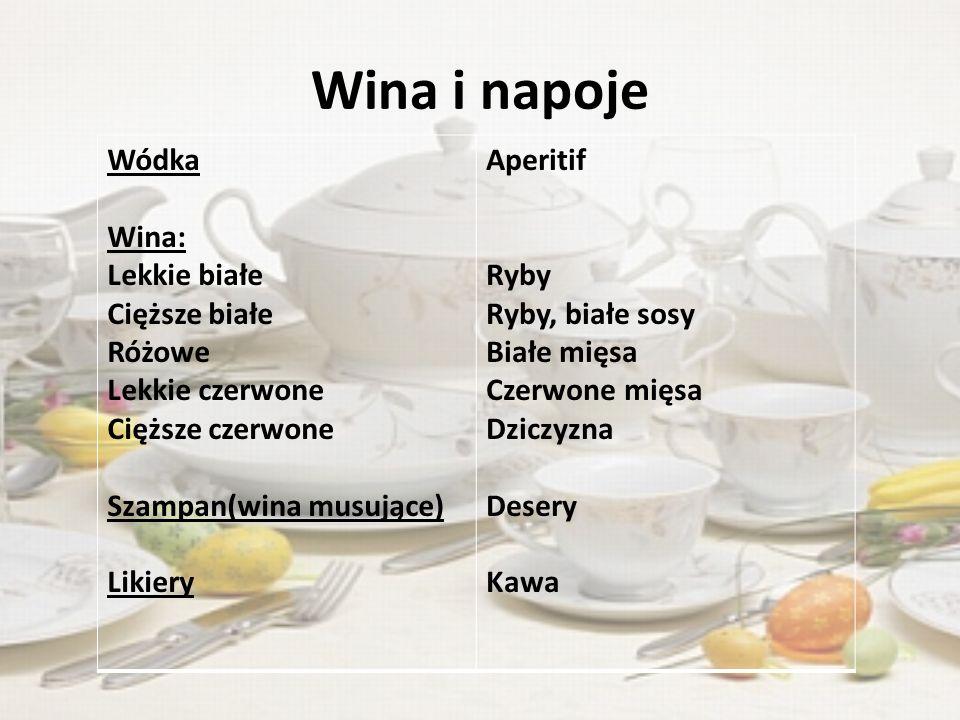 Wina i napoje Wódka Wina: Lekkie białe Cięższe białe Różowe Lekkie czerwone Cięższe czerwone Szampan(wina musujące) Likiery Aperitif Ryby Ryby, białe sosy Białe mięsa Czerwone mięsa Dziczyzna Desery Kawa