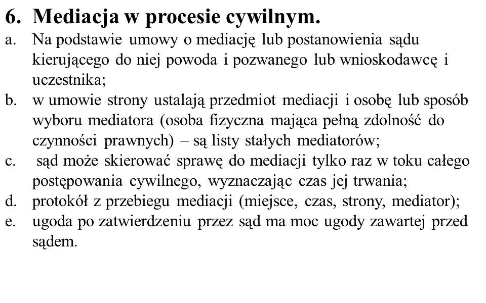 6.Mediacja w procesie cywilnym.