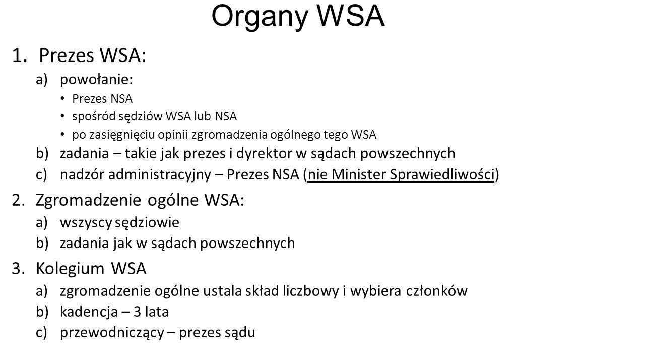 Organy WSA 1.Prezes WSA: a)powołanie: Prezes NSA spośród sędziów WSA lub NSA po zasięgnięciu opinii zgromadzenia ogólnego tego WSA b)zadania – takie jak prezes i dyrektor w sądach powszechnych c)nadzór administracyjny – Prezes NSA (nie Minister Sprawiedliwości) 2.Zgromadzenie ogólne WSA: a)wszyscy sędziowie b)zadania jak w sądach powszechnych 3.Kolegium WSA a)zgromadzenie ogólne ustala skład liczbowy i wybiera członków b)kadencja – 3 lata c)przewodniczący – prezes sądu