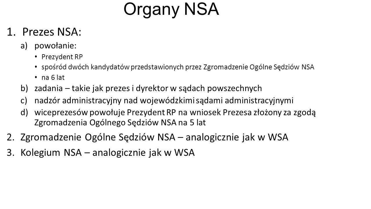 Organy NSA 1.Prezes NSA: a)powołanie: Prezydent RP spośród dwóch kandydatów przedstawionych przez Zgromadzenie Ogólne Sędziów NSA na 6 lat b)zadania – takie jak prezes i dyrektor w sądach powszechnych c)nadzór administracyjny nad wojewódzkimi sądami administracyjnymi d)wiceprezesów powołuje Prezydent RP na wniosek Prezesa złożony za zgodą Zgromadzenia Ogólnego Sędziów NSA na 5 lat 2.Zgromadzenie Ogólne Sędziów NSA – analogicznie jak w WSA 3.Kolegium NSA – analogicznie jak w WSA
