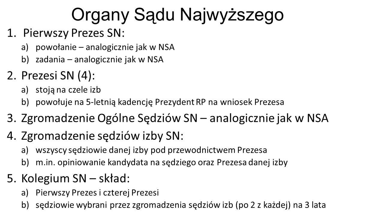 Organy Sądu Najwyższego 1.Pierwszy Prezes SN: a)powołanie – analogicznie jak w NSA b)zadania – analogicznie jak w NSA 2.Prezesi SN (4): a)stoją na czele izb b)powołuje na 5-letnią kadencję Prezydent RP na wniosek Prezesa 3.Zgromadzenie Ogólne Sędziów SN – analogicznie jak w NSA 4.Zgromadzenie sędziów izby SN: a)wszyscy sędziowie danej izby pod przewodnictwem Prezesa b)m.in.