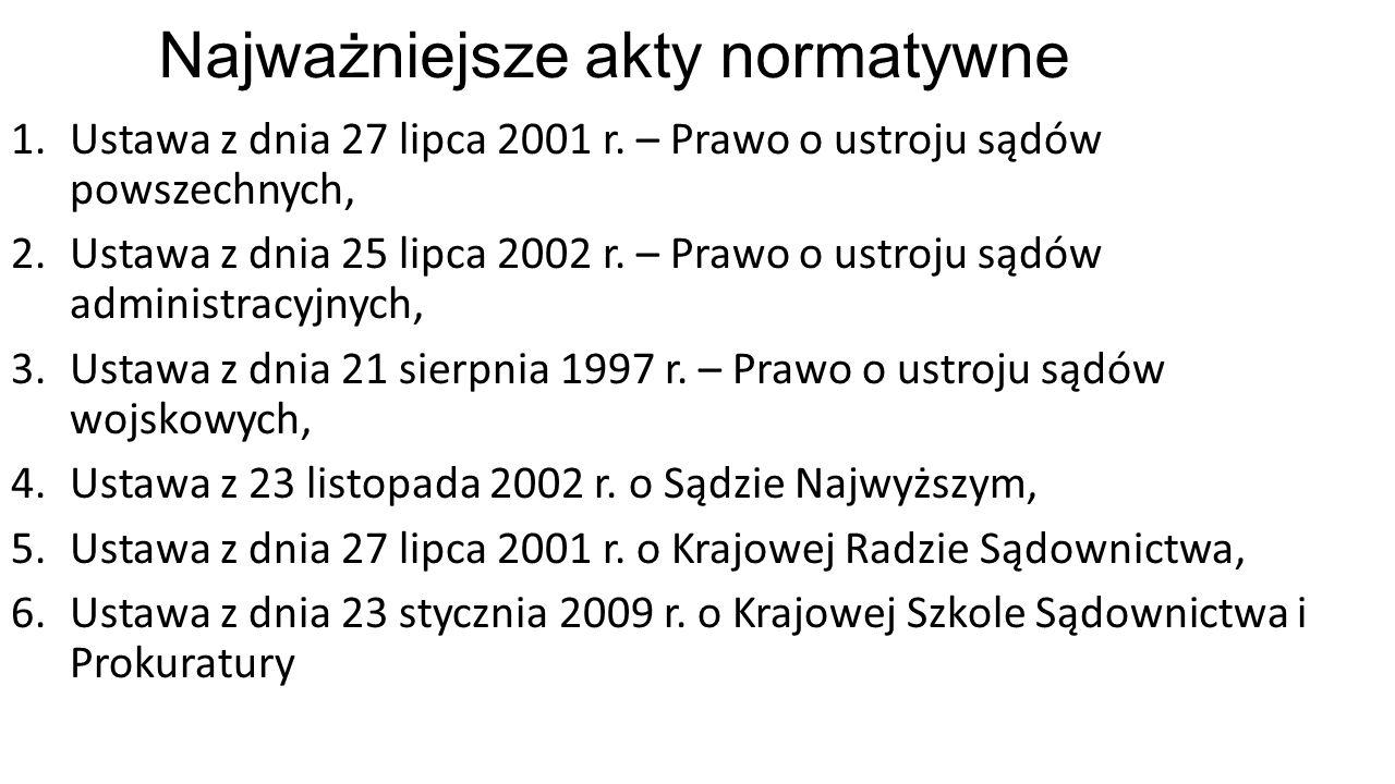 Najważniejsze akty normatywne 1.Ustawa z dnia 27 lipca 2001 r.