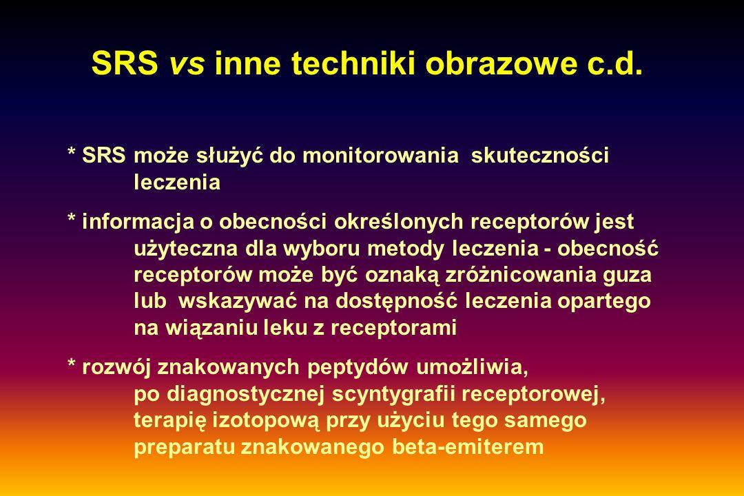 * SRS może służyć do monitorowania skuteczności leczenia * informacja o obecności określonych receptorów jest użyteczna dla wyboru metody leczenia - o