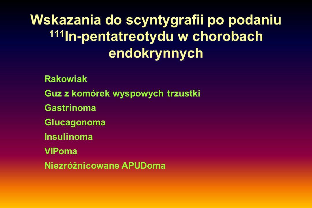 Wskazania do scyntygrafii po podaniu 111 In-pentatreotydu w chorobach endokrynnych Rakowiak Guz z komórek wyspowych trzustki Gastrinoma Glucagonoma In