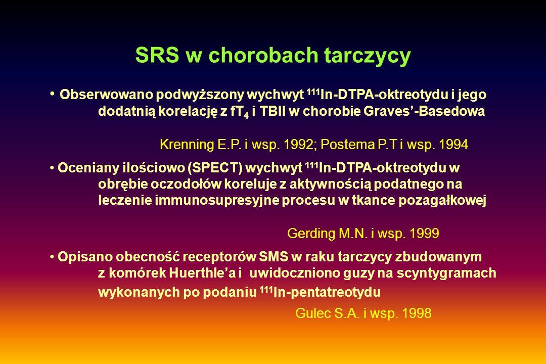 SRS w chorobach tarczycy Obserwowano podwyższony wychwyt 111 In-DTPA-oktreotydu i jego dodatnią korelację z fT 4 i TBII w chorobie Graves'-Basedowa Oc