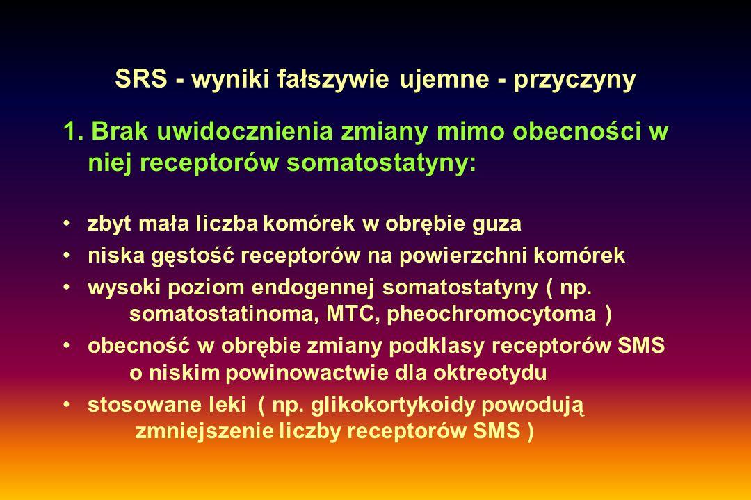 SRS - wyniki fałszywie ujemne - przyczyny 1. Brak uwidocznienia zmiany mimo obecności w niej receptorów somatostatyny: zbyt mała liczba komórek w obrę