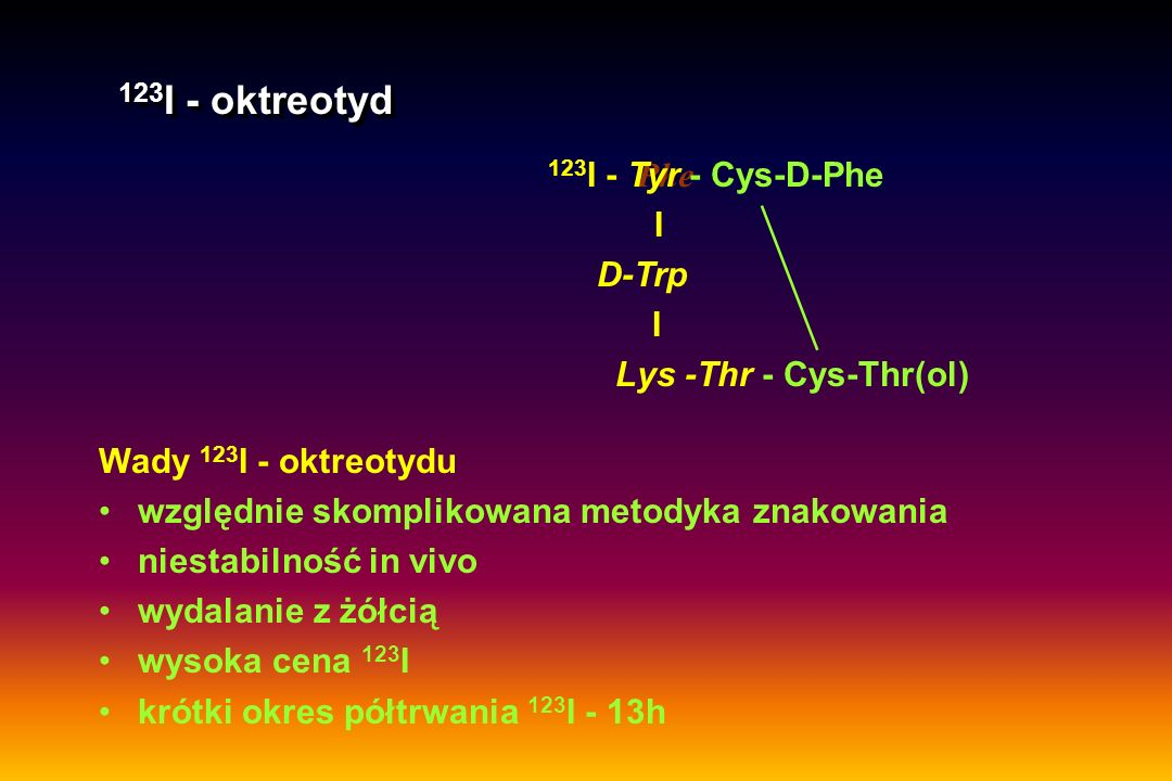 D-Phe - Cys- D - Phe - DTPA- 111 In I D-Trp I Lys -Thr - Cys - Thr(ol) D-Phe - Cys- D - Phe - DTPA- 111 In I D-Trp I Lys -Thr - Cys - Thr(ol) [ 111 In-DTPA-D-Phe 1 ]-oktreotyd = 111 In-pentatreotyd (OctreoScan® 111) [ 111 In-DTPA-D-Phe 1 ]-oktreotyd = 111 In-pentatreotyd (OctreoScan® 111) Cechy 111 In-pentatreotydu łatwy do znakowania stabilny in vivo wydalany głównie przez nerki okres półtrwania 111 In - 2,8 d