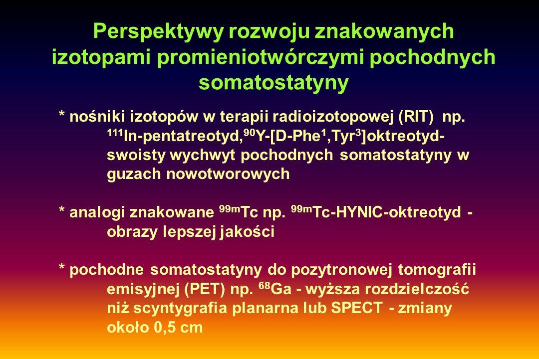 Perspektywy rozwoju znakowanych izotopami promieniotwórczymi pochodnych somatostatyny * nośniki izotopów w terapii radioizotopowej (RIT) np. 111 In-pe