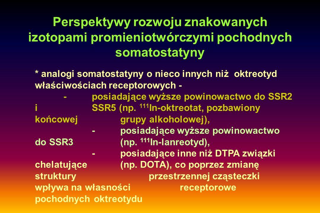 Perspektywy rozwoju znakowanych izotopami promieniotwórczymi pochodnych somatostatyny * analogi somatostatyny o nieco innych niżoktreotyd właściwościa