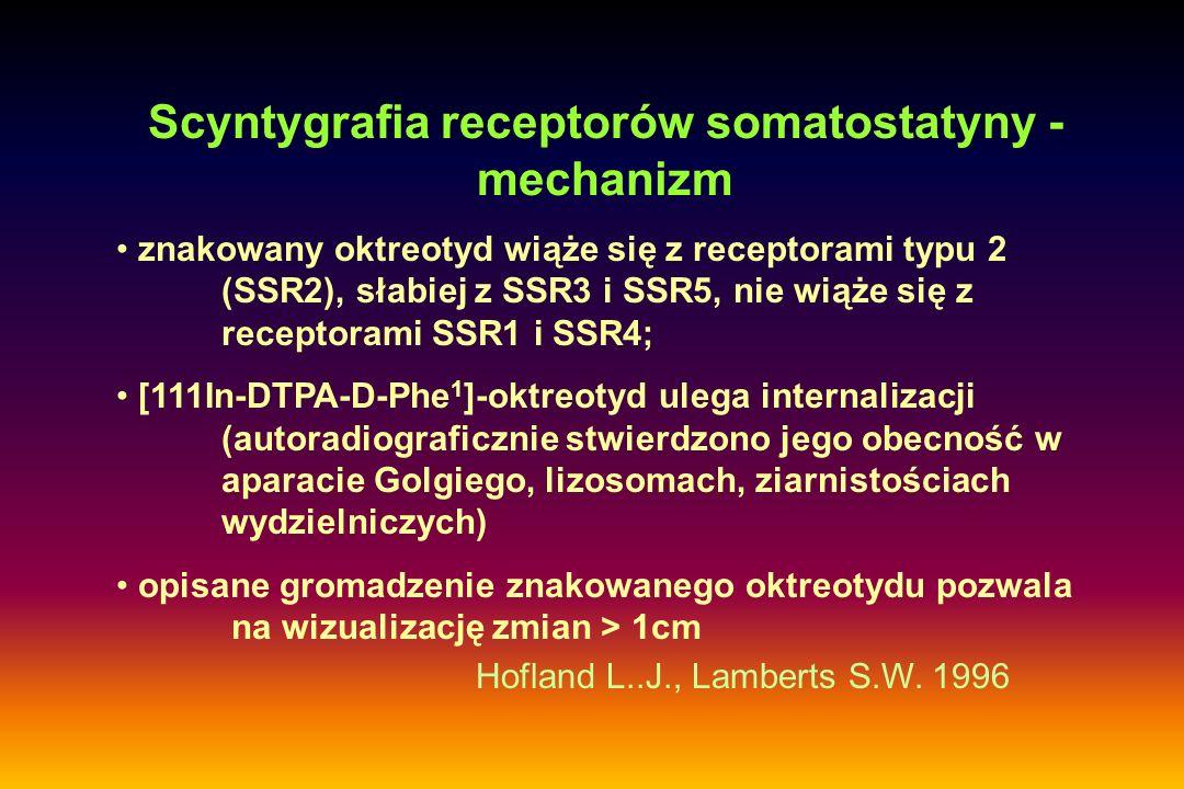 Scyntygrafia receptorów somatostatyny - mechanizm znakowany oktreotyd wiąże się z receptorami typu 2 (SSR2), słabiej z SSR3 i SSR5, nie wiąże się z re